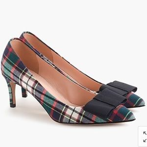 Jcrew Collette Pump In Tartan with Bow Size 7.5